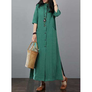Women Casual Solid Long Button Down Shirt Split Kaftan Dress - Cozzoo