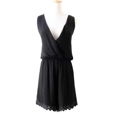 Fashionable V-Neck  Lace Splicing Solid Color Sleeveless Romper For Women - Black S - Cozzoo