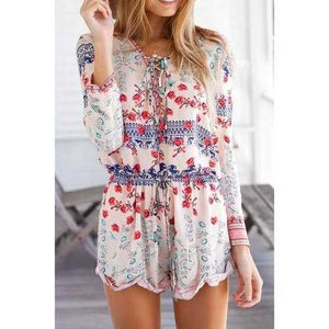 Fashionable V-Neck Tie-Up Tiny Floral Long Sleeve Romper For Women - S - Cozzoo