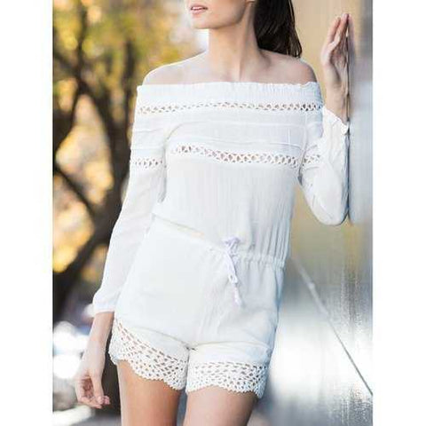 Alluring Off-The-Shoulder Long Sleeve Drawstring Women's White Romper - White S - Cozzoo