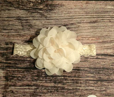 Cream Chiffon and Lace Flower Lace Headband - Baby - Cozzoo