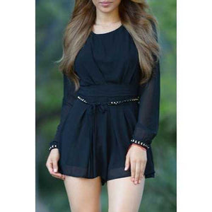 Chic Scoop Neck Long Sleeve Pure Color Chiffon Women's Romper - Black L - Cozzoo
