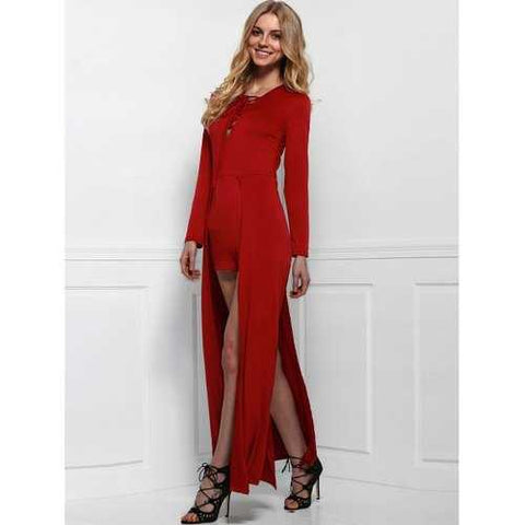Lace-Up Long Sleeve Slit Romper - Wine Red M - Cozzoo
