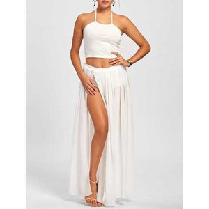 High Split Maxi Overlay Romper Dress with Halter Top - White M - Cozzoo