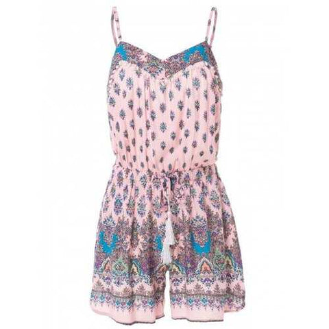 Stylish Spaghetti Strap Tiny Floral Drawsting Design Women's Romper - Pink S - Cozzoo