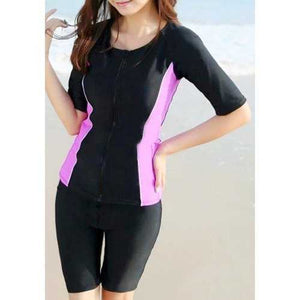 Brief Round Neck Color Block Zippered Short Sleeve Two-Piece Surf Swimsuit For Women - Black And Pink M - Cozzoo