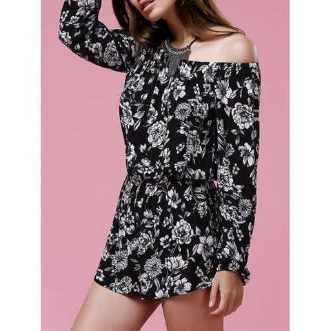 Long Sleeve Off The Shoulder Romper - Black L - Cozzoo