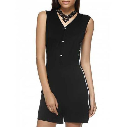 Hooded V Neck Romper - Black M - Cozzoo