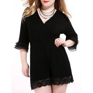 Oversized Alluring Layered Sleeve Lace Splicing Romper - Black 2xl - Cozzoo