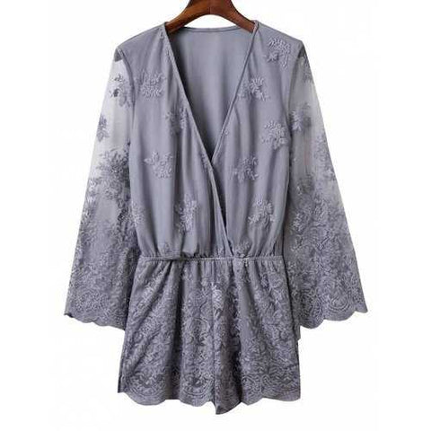 Stylish Plunging Neck Flare Sleeve Embroidered Voile Spliced Women's Romper - Gray M - Cozzoo