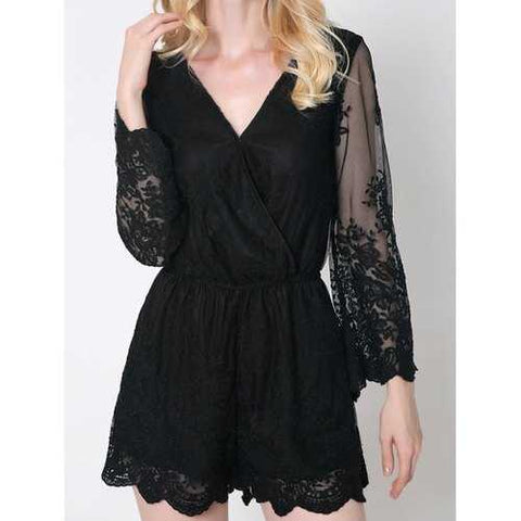 Trendy Flare Sleeve Laciness Wrap Romper For Women - Black S - Cozzoo