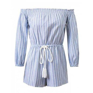 Striped Drawstring Off-The-Shoulder Romper - Light Blue M - Cozzoo