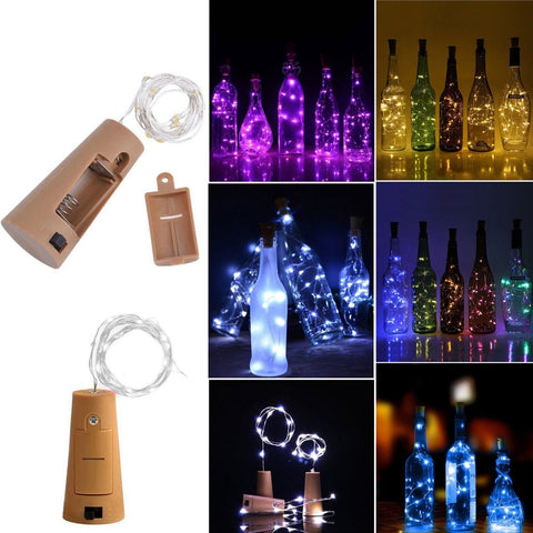 1M 10LED LED Cork Shaped Bottle Stopper Light Glass Wine LED Copper Wire String Lights For Christmas Lights Party Wedding - Cozzoo