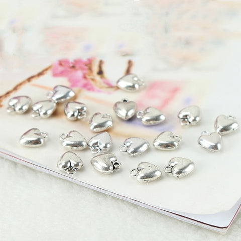 200 Pcs Nrpfell Small Love Heart Charms Drops&Pendants For Necklace Jewelry Making DIY Findings Bedeltjes Bedels 8x6mm