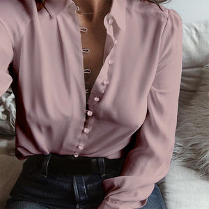 Fashion ZANZEA Casual Long Sleeve Loose Party Blouse Women Elegant Solid Lapel Baggy Work Office Button Down Shirts - Cozzoo
