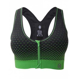 Zipper Front Contrast Racerback Yoga Push Up Sports Bra - Black And Green S - Cozzoo