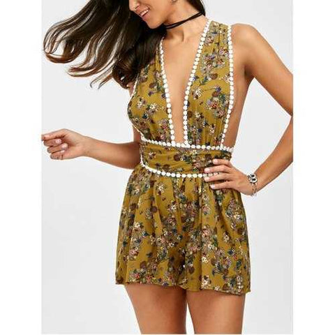 Self Tie Floral Open Back Romper - Light Yellow L - Cozzoo