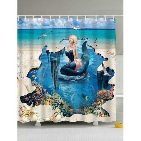 3D Mermaid Print Eco-Friendly Polyester Shower Curtain - Blue 150*180cm - Cozzoo