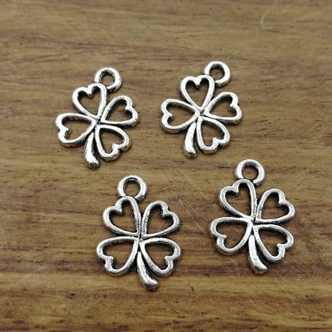 20pcs Charms lucky irish four leaf clover 17*13mm Tibetan Silver Plated Pendants Antique Jewelry Making DIY Handmade Craft