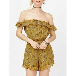 Off The Shoulder Floral Ruffle Romper - Yellow M - Cozzoo