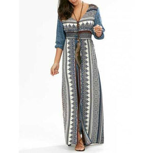 Empire Waist Button Down Flowy Beach Bohemian Maxi Dress - Blue S - Cozzoo