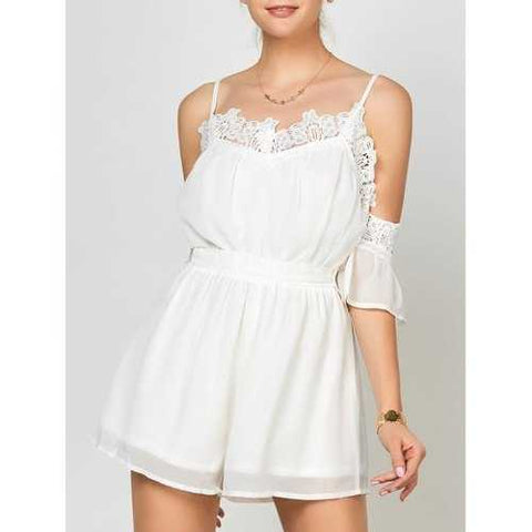Lace Panel Cold Shoulder Romper - White S - Cozzoo