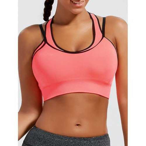 Padded Strappy Double-Layered Sports Bra - Orangepink M - Cozzoo