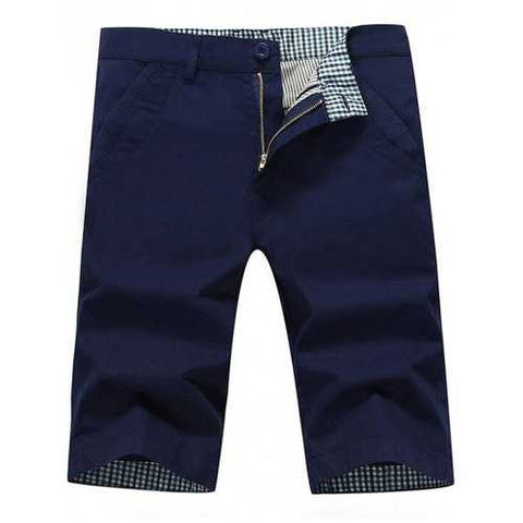 Back Pockets Zip Fly Bermuda Shorts - Deep Blue 38 - Cozzoo
