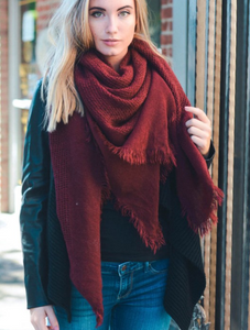 Warm Burgundy Open Weave Square Scarf / Blanket - Cozzoo