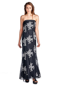 Women's Embroidered Mesh Trumpet Gown with Lace up - Cozzoo