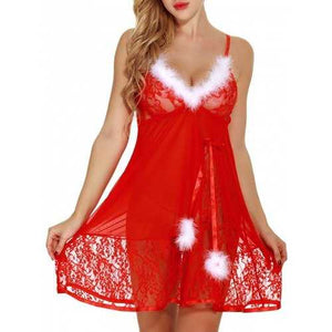 Feathers See Through Lace Santa Lingerie Babydoll - Red S - Cozzoo