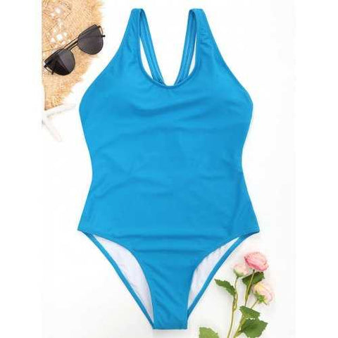 Cut Out Back One Piece Swimsuit - Oasis S - Cozzoo