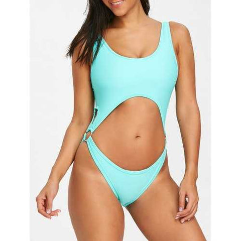 Cut Out Bralette One Piece Swimsuit - Turquoise M - Cozzoo