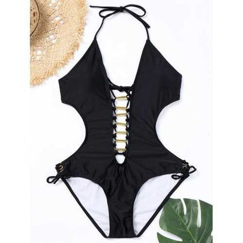 Lace-up Backless One Piece Swimsuit - Black S - Cozzoo