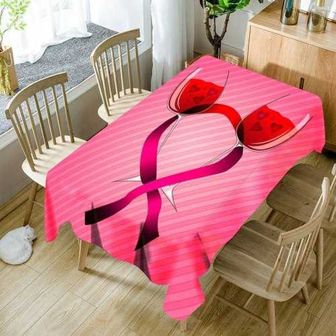 Valentine's Day Wine Glass Heart Print Waterproof Table Cloth - Pink W60 Inch * L84 Inch - Cozzoo