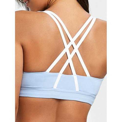 Strappy Padded Pull On Sports Bra - Blue L - Cozzoo
