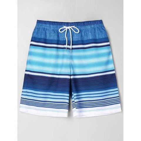 Striped Beach Bermuda Shorts - Blue M - Cozzoo