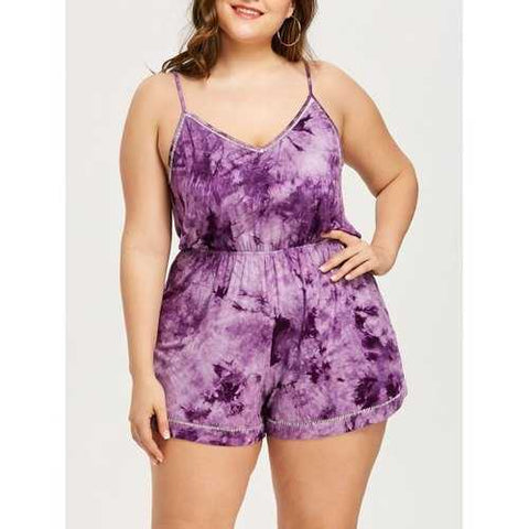 Plus Size Open Back Tie Dye Romper - Purple Xl - Cozzoo