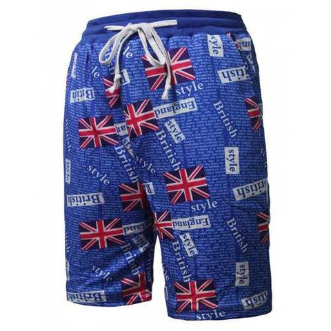 Drawstring Flag Printed Beach Shorts - Blue L - Cozzoo