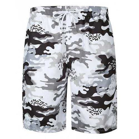 Flap Pocket Camouflage Print Hawaiian Bermuda Shorts - White L - Cozzoo