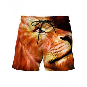 3D Lion Printed Drawstring Beach Shorts - Dark Orange M - Cozzoo