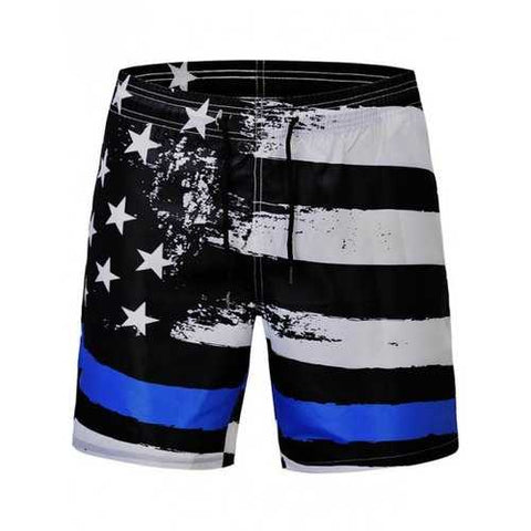 Stars and Stripes Print Quick Dry Beach Shorts - Black L - Cozzoo