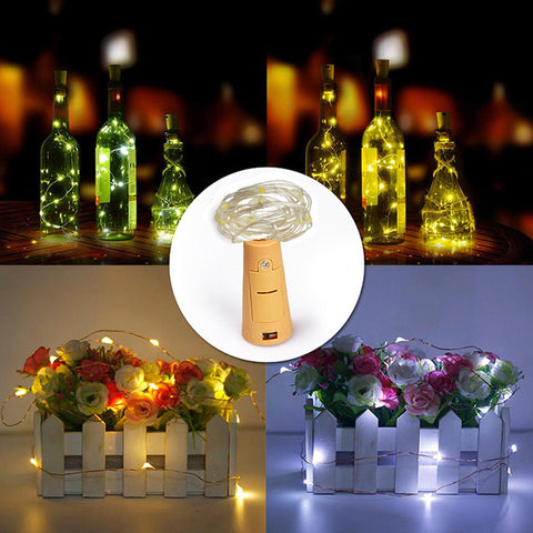 2m 20-LED Copper Wire String Light with Bottle Stopper for Glass Craft Bottle Fairy Valentines Wedding Decoration Lamp Party