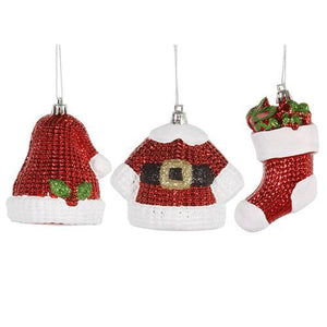 6ct Shiny Shatterproof Santa Claus Hat  Jacket  and Stocking Christmas Ornaments - Cozzoo
