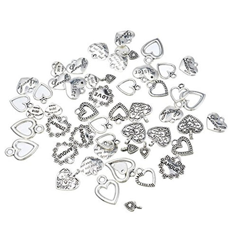 30pcs Mixed Style Heart Pendants Charms Jewelry Making Findings For DIY Craft Accessories Silver Color Love Heart Charms Bedels