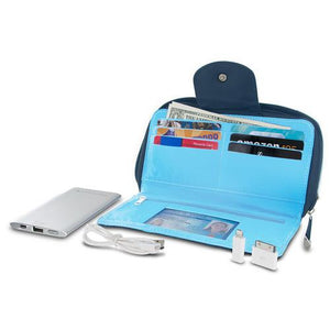 Travelon RFID Blocking Clutch Wallet With 5000mAh Power Bank - Navy - Cozzoo