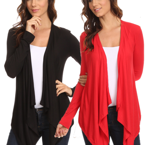 2 Pack Women's Cardigan Short Drape Open Front S to 3X Athleisure Made in the USA - Cozzoo