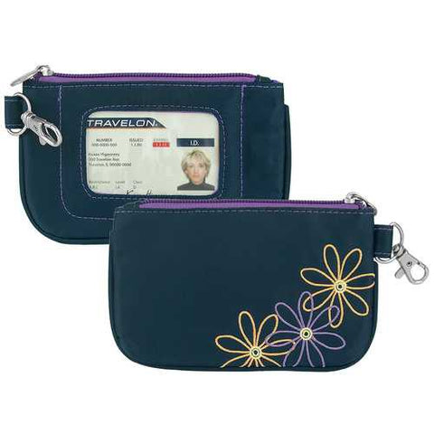 Travelon RFID Blocking Daisy Zip ID Card Holder Coin Pouch Wallet Navy - Cozzoo