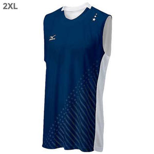 "Mizuno DryLite Men""s National VI Sleeveless Jersey, Navy & White - 2XL - Cozzoo"