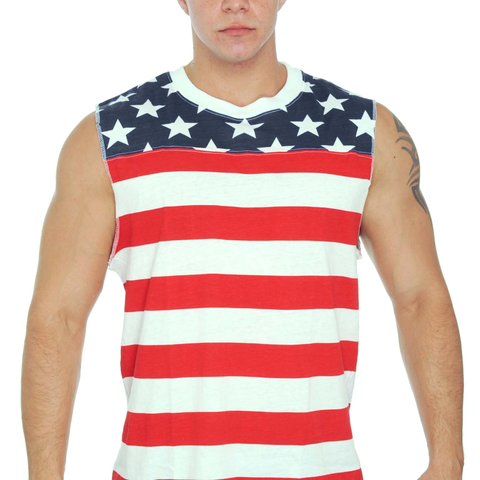 Men's USA Flag Tank Top Proud To Be An American Sleeveless Shirt - Cozzoo